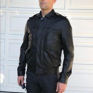 All Saints leather bomber jacket
